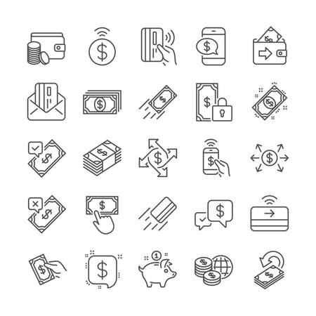 Payment wallet line icons. Set of Pay with Phone, Accept money transfer and Credit card by mail icons. Online payment, Dollar exchange and Fast money send. Private pay, Cash and Wallet. Vector