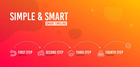 Infographic timeline. Car leasing, Undo and Cloud storage icons simple set. Typewriter sign. Transport discount, Left turn, Data service. Instruction. 4 steps layout. Line car leasing icon. Vector Illustration