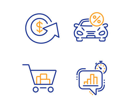 Car leasing, Internet shopping and Dollar exchange icons simple set. Statistics timer sign. Transport discount, Cart with purchases, Money refund. Growth chart. Finance set. Linear car leasing icon Illustration