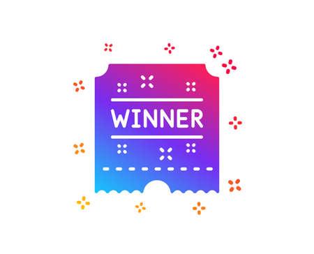 Winner ticket icon. Amusement park award sign. Dynamic shapes. Gradient design winner ticket icon. Classic style. Vector