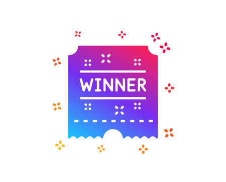 Winner ticket icon. Amusement park award sign. Dynamic shapes. Gradient design winner ticket icon. Classic style. Vector Stock Vector - 121801879