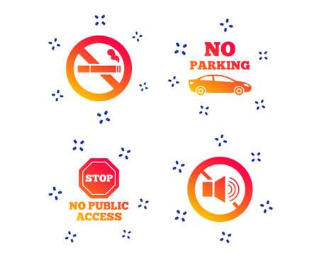 Hör auf zu rauchen und keine Geräusche. Privater Parkplatz oder öffentlicher Zugang. Zigarettensymbol. Lautstärke des Lautsprechers. Zufällige dynamische Formen. Privates Symbol mit Farbverlauf. Vektor