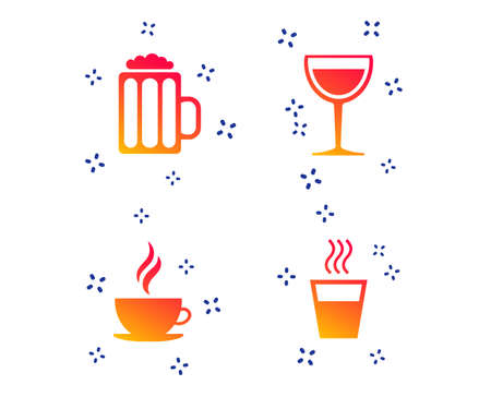 Drinks icons. Coffee cup and glass of beer symbols. Wine glass sign. Random dynamic shapes. Gradient beer icon. Vector
