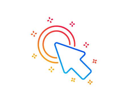 Click here line icon. Push the button sign. Web cursor symbol. Gradient design elements. Linear click here icon. Random shapes. Vector