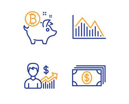 Investment graph, Business growth and Bitcoin coin icons simple set. Banking sign. Investment infochart, Earnings results, Piggy bank. Money payment. Finance set. Linear investment graph icon. Vector