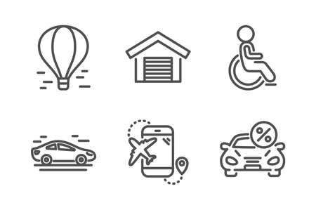 Car, Flight destination and Disabled icons simple set. Parking garage, Air balloon and Car leasing signs. Transport, Airplane trip. Transportation set. Line car icon. Editable stroke. Vector Illustration
