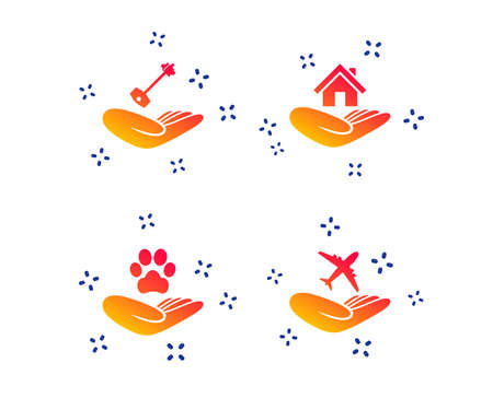 Helping hands icons. Shelter for dogs symbol. Home house or real estate and key signs. Flight trip insurance. Random dynamic shapes. Gradient insurance icon. Vector