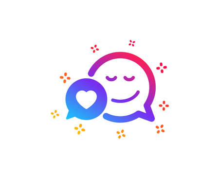 Comic speech bubble with Smile icon. Chat emotion with heart sign. Dynamic shapes. Gradient design dating icon. Classic style. Vector Illustration