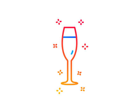 Champagne glass line icon. Wine glass sign. Gradient design elements. Linear champagne glass icon. Random shapes. Vector