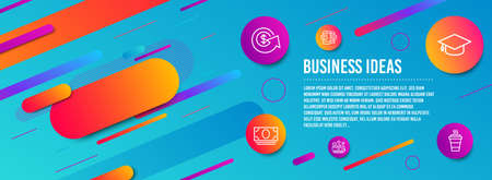 Header banner. Dollar exchange, Bus travel and Cash money icons simple set. Smartphone sms, Graduation cap and Takeaway signs. Money refund, Transport. Business set. Line dollar exchange icon. Vector Çizim