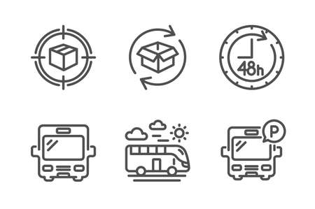 Parcel tracking, Bus travel and 48 hours icons simple set. Return parcel, Bus signs. Box in target, Transport. Transportation set. Line parcel tracking icon. Editable stroke. Vector