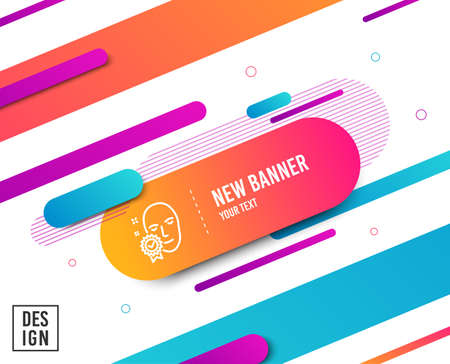 Face verified line icon. Access granted sign. Facial identification success symbol. Diagonal abstract banner. Linear face verified icon. Geometric line shapes. Vector