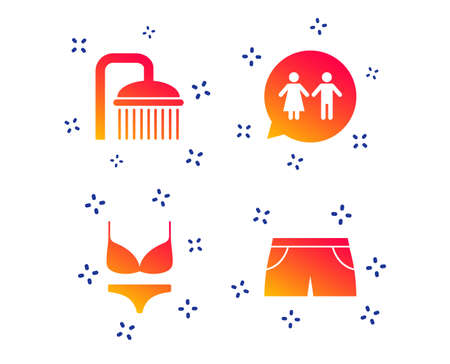 Swimming pool icons. Shower water drops and swimwear symbols. WC Toilet speech bubble sign. Trunks and women underwear. Random dynamic shapes. Gradient shower icon. Vector
