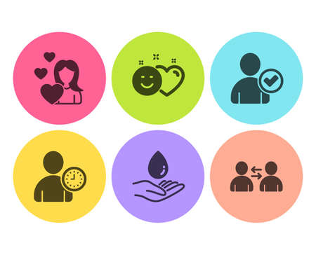 Water care, Smile and Love icons simple set. Identity confirmed, Time management and Communication signs. Aqua drop, Social media like. People set. Flat water care icon. Circle button. Vector Çizim