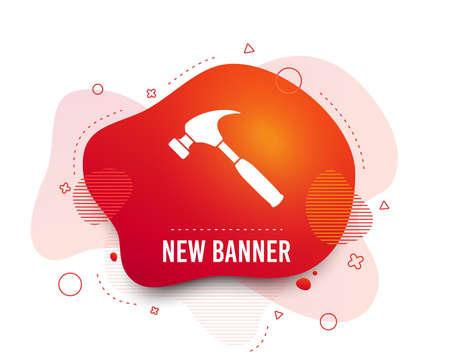 Fluid badge. Hammer sign icon. Repair service symbol. Abstract shape. Gradient hammer icon. Flyer liquid banner. Vector 向量圖像