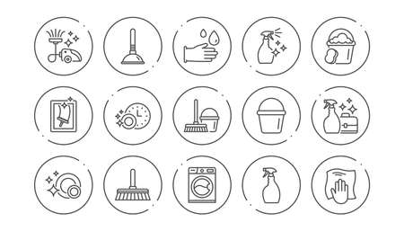 Cleaning line icons. Laundry, Window sponge and Vacuum cleaner. Washing machine linear icon set. Line buttons with icon. Editable stroke. Vector