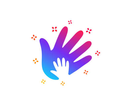 Hand icon. Social responsibility sign. Honesty, collaboration symbol. Dynamic shapes. Gradient design social responsibility icon. Classic style. Vector Illustration