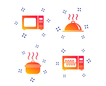 Microwave grill oven icons. Cooking pan signs. Food platter serving symbol. Random dynamic shapes. Gradient cooking icon. Vector Illustration