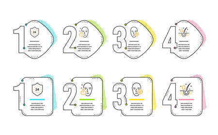 Healthy face, Problem skin and 24 hours icons simple set. Serum oil sign. Healthy cosmetics, Facial care, Protection. Beauty set. Infographic timeline. Line healthy face icon. 4 options or steps Illustration