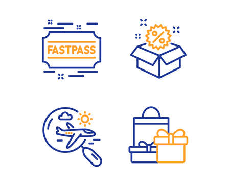 Search flight, Fastpass and Sale icons simple set. Shopping sign. Airplane trip, Entrance ticket, Discount. Holiday packages. Holidays set. Linear search flight icon. Colorful design set. Vector