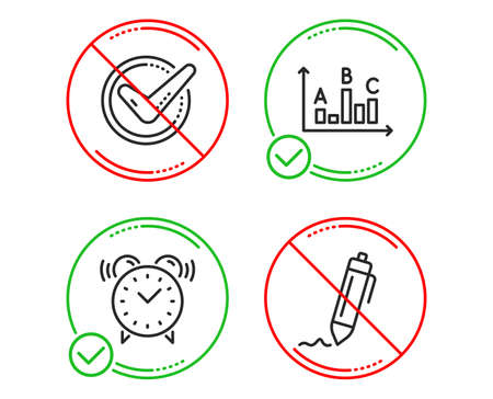 Do or Stop. Alarm clock, Survey results and Confirmed icons simple set. Signature sign. Time, Best answer, Accepted message. Written pen. Business set. Line alarm clock do icon. Prohibited ban stop