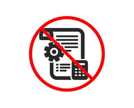 No or Stop. Settings blueprint icon. Engineering cogwheel tool sign. Cog gear symbol. Prohibited ban stop symbol. No settings blueprint icon. Vector Stock Vector - 122776498