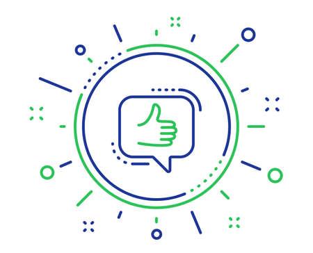 Come icona della linea. Pollice in su segno. Feedback positivo, simbolo dei social media. Elementi di design di qualità. Tecnologia come il pulsante. Tratto modificabile. Vettore