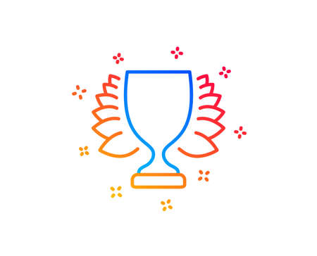 Award cup line icon. Winner Trophy with Laurel wreath symbol. Sports achievement sign. Gradient design elements. Linear winner icon. Random shapes. Vector Stock Vector - 121774086