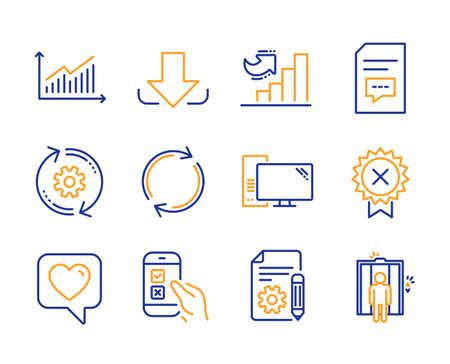 Mobile Umfrage, Herz- und Kommentarsymbole einfach eingestellt. Dokumentations-, Grafik- und Reject-Medaillenzeichen. Zahnrad-, Download- und Vollrotationssymbole. Computer, Wachstumsdiagramm und Aufzug. Vektor