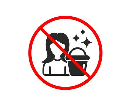No or Stop. Cleaning service icon. Woman with Bucket symbol. Washing Housekeeping equipment sign. Prohibited ban stop symbol. No cleaning icon. Vector Standard-Bild - 122776511