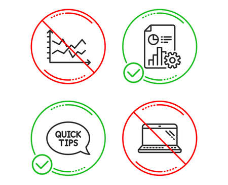 Do or Stop. Quickstart guide, Report and Diagram chart icons simple set. Laptop sign. Helpful tricks, Presentation document, Presentation graph. Computer. Science set. Line quickstart guide do icon