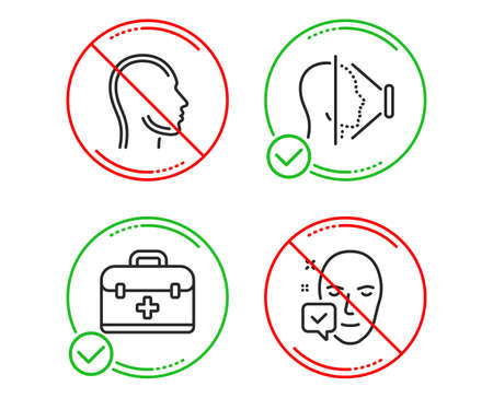 Do or Stop. First aid, Face id and Head icons simple set. Face accepted sign. Medicine case, Phone scanning, Human profile. Access granted. Healthcare set. Line first aid do icon. Prohibited ban stop