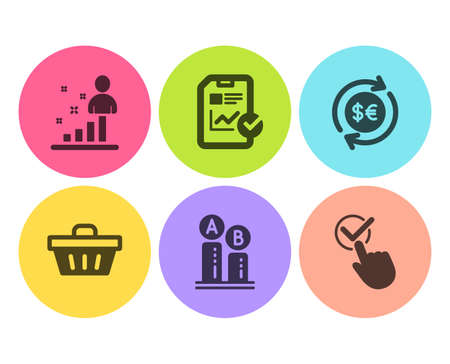 Report checklist, Shopping basket and Ab testing icons simple set. Money currency, Stats and Checkbox signs. Sales growth file, Sale offer. Business set. Flat report checklist icon. Circle button