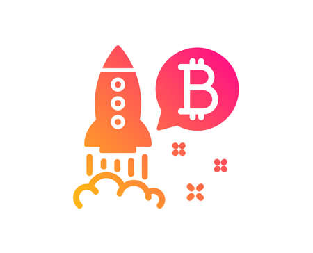 Bitcoin icon. Cryptocurrency startup sign. Crypto rocket symbol. Classic flat style. Gradient bitcoin project icon. Vector