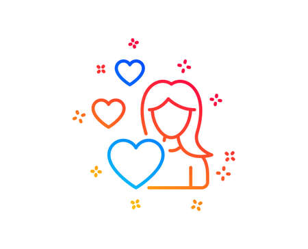 Woman in Love line icon. Heart sign. Valentines day symbol. Gradient design elements. Linear love icon. Random shapes. Vector