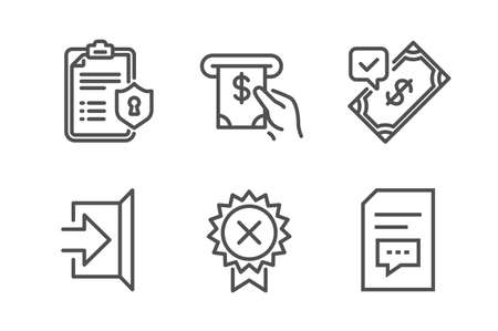 Accepted payment, Privacy policy and Reject medal icons simple set. Exit, Atm service and Comments signs. Bank transfer, Checklist. Business set. Line accepted payment icon. Editable stroke. Vector