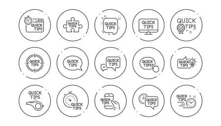 Quick tips line icons. Helpful tricks, Solution and Quickstart guide. Tutorial linear icon set. Line buttons with icon. Editable stroke. Vector Reklamní fotografie - 121771357