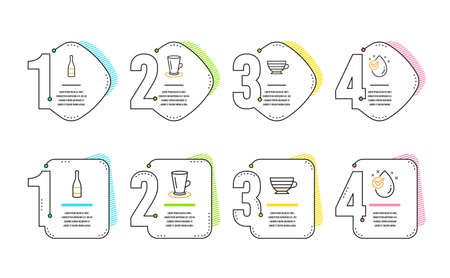Teacup, Champagne bottle and Cappuccino icons simple set. Water drop sign. Tea or latte, Anniversary alcohol, Coffee cup. Clean aqua. Food and drink set. Infographic timeline. Line teacup icon