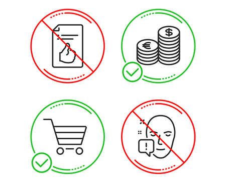 Do or Stop. Currency, Approved document and Market sale icons simple set. Face attention sign. Euro and usd, Like symbol, Customer buying. Exclamation mark. Business set. Line currency do icon
