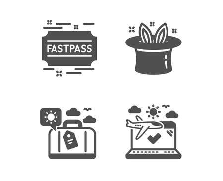 Set of Hat-trick, Travel luggage and Fastpass icons. Airplane travel sign. Magic hat, Trip bag, Entrance ticket. Check in.  Classic design hat-trick icon. Flat design. Vector