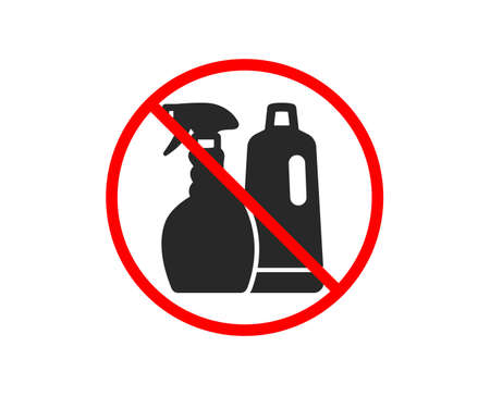 No or Stop. Cleaning spray and Shampoo icon. Washing liquid or Cleanser symbol. Housekeeping equipment sign. Prohibited ban stop symbol. No shampoo and Spray icon. Vector