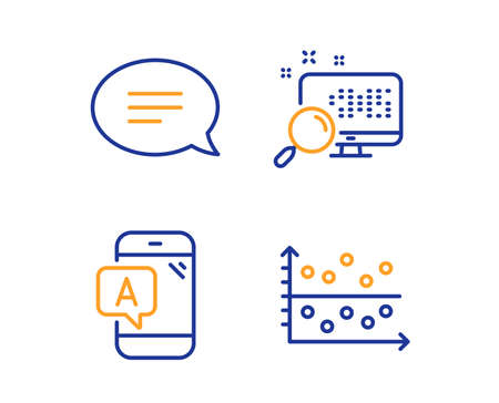 Ab testing, Chat and Search icons simple set. Dot plot sign. Phone test, Speech bubble, Find file. Presentation graph. Linear ab testing icon. Colorful design set. Vector Ilustração