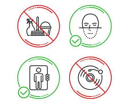 Do or Stop. Elevator, Face recognition and Household service icons simple set. Vinyl record sign. Office transportation, Faces biometrics, Cleaning equipment. Retro music. Business set. Vector