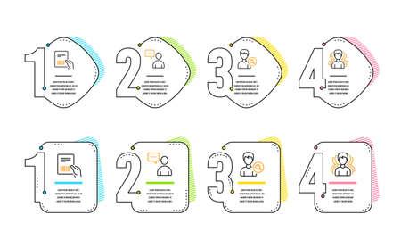 Los usuarios chatean, factura de paquetes y buscan personas iconos conjunto simple. Signo de grupo. Concepto de comunicación, documento de entrega, perfil de búsqueda. Servicio de headhunting. Conjunto de personas. Línea de tiempo de infografía. Vector Ilustración de vector