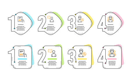 Users chat, Parcel invoice and Search people icons simple set. Group sign. Communication concept, Delivery document, Find profile. Headhunting service. People set. Infographic timeline. Vector