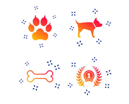 Pets icons. Cat paw with clutches sign. Winner laurel wreath and medal symbol. Pets food. Random dynamic shapes. Gradient pets icon. Vector