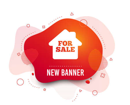 Fluid badge. For sale sign icon. Real estate selling. Abstract shape. Gradient for sale icon. Flyer liquid banner. Vector Ilustracja