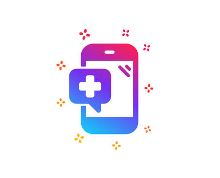 Medicine phone icon. Mobile medical help sign. Dynamic shapes. Gradient design medical phone icon. Classic style. Vector Banque d'images - 122776565