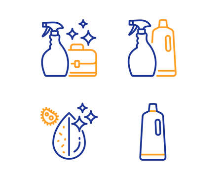 Cleanser spray, Shampoo and spray and Dirty water icons simple set. Shampoo sign. Washing liquid, Washing liquids, Aqua drop. Bath cleanser. Cleaning set. Linear cleanser spray icon. Vector  イラスト・ベクター素材