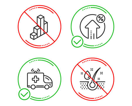 Do or Stop. Ambulance car, Loan percent and 3d chart icons simple set. Serum oil sign. Emergency transport, Growth rate, Presentation column. Healthy hairs. Line ambulance car do icon. Vector